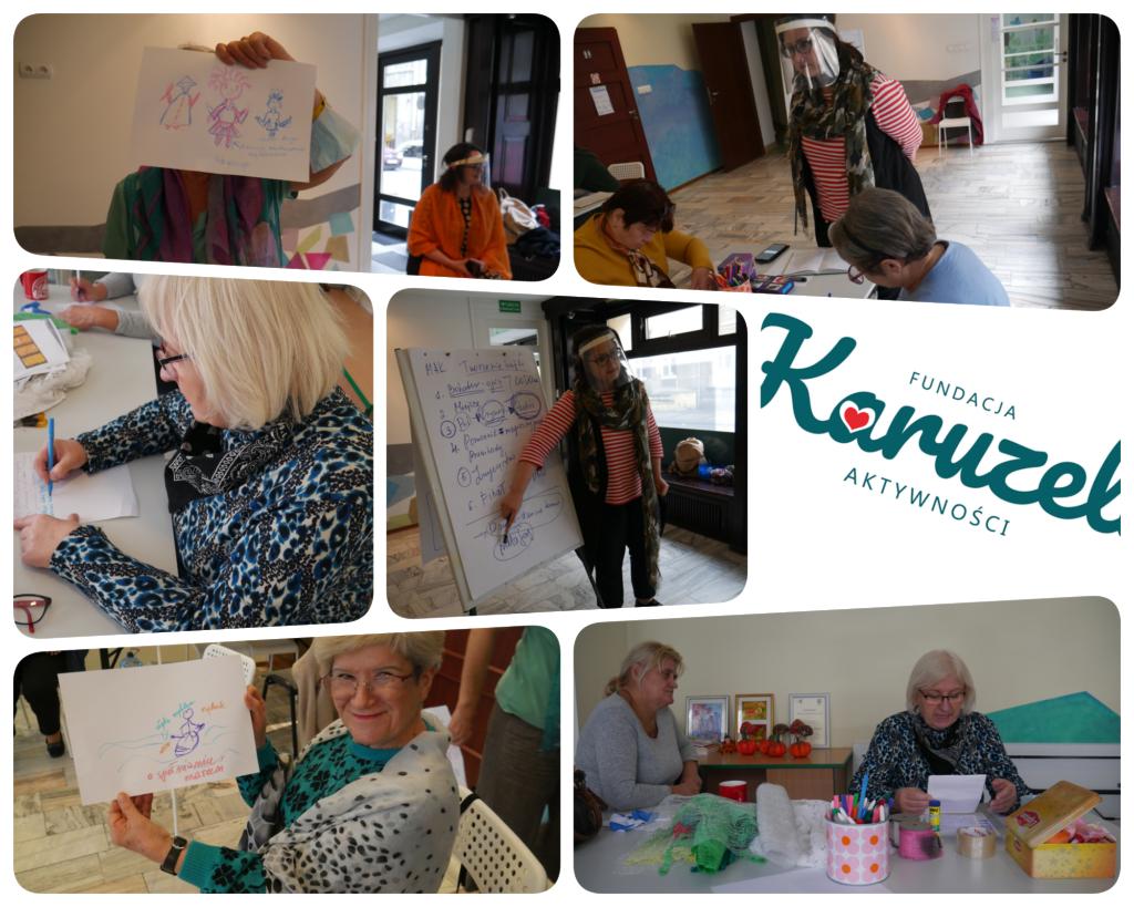 zdjęcia z warsztatów przedstawiające pracujące uczestniczki