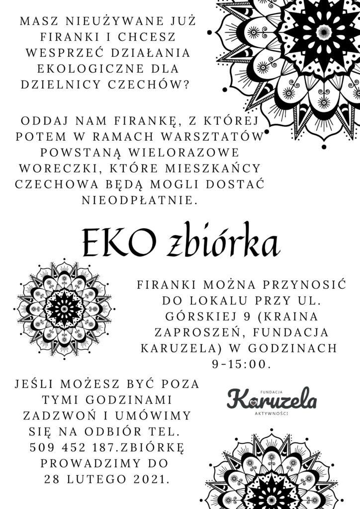 Plakat informujący o zbiórce firanek