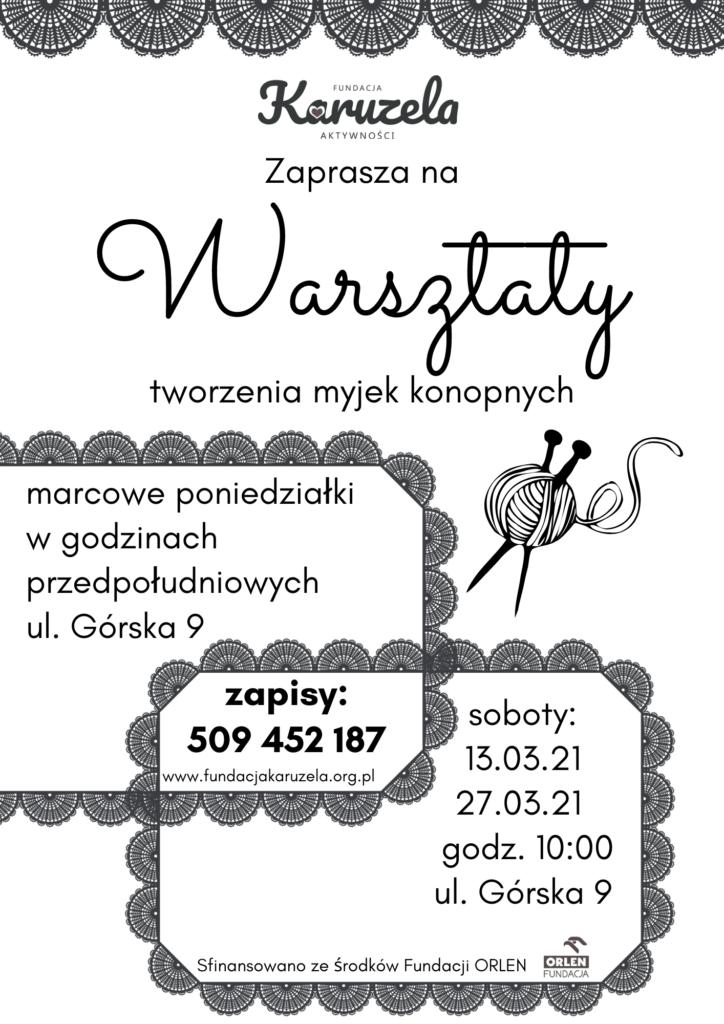 Plakat zapraszający na warsztaty tworzenia myjek konopnych